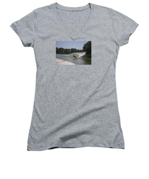 Slalom Waterskiing Women's V-Neck T-Shirt (Junior Cut) by Venetia Featherstone-Witty