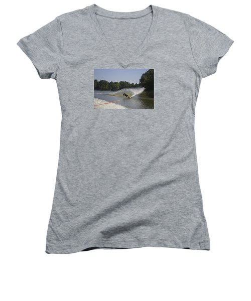 Slalom Waterskiing Women's V-Neck T-Shirt