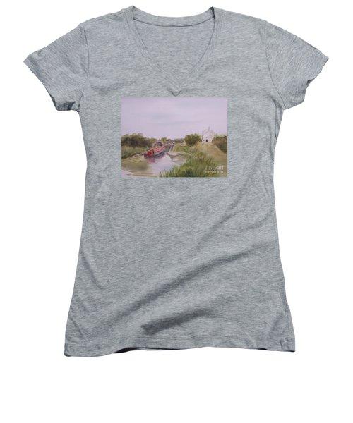 Slapton Lock Women's V-Neck T-Shirt (Junior Cut) by Martin Howard