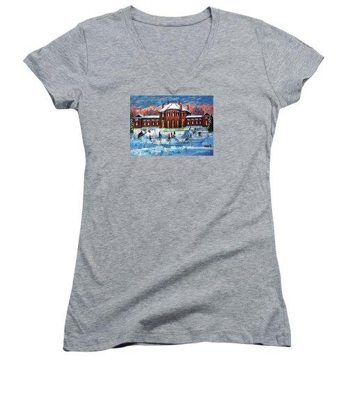 Sledding At The Gore Estate Women's V-Neck T-Shirt (Junior Cut) by Rita Brown