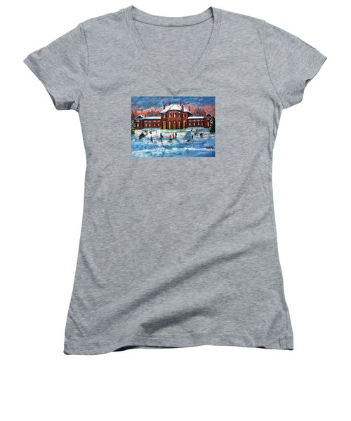 Sledding At The Gore Estate Women's V-Neck T-Shirt