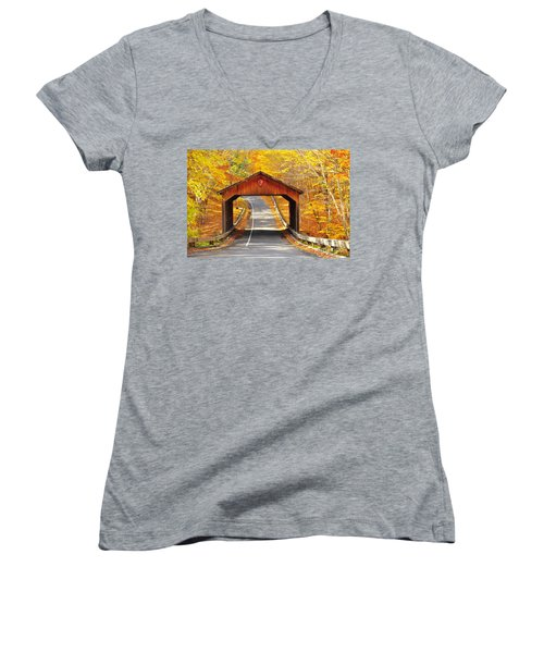 Sleeping Bear National Lakeshore Covered Bridge Women's V-Neck T-Shirt (Junior Cut) by Terri Gostola