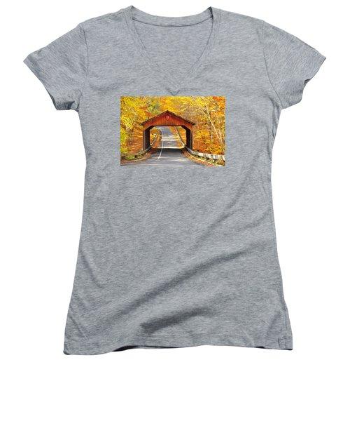 Sleeping Bear National Lakeshore Covered Bridge Women's V-Neck T-Shirt