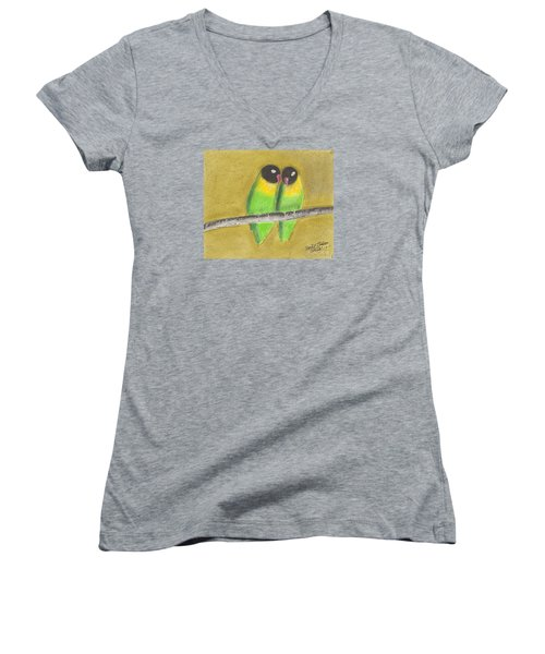Sleeping Love Birds Women's V-Neck T-Shirt