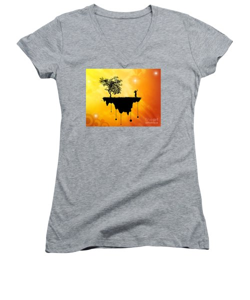 Women's V-Neck T-Shirt (Junior Cut) featuring the digital art Slice Of Earth by Phil Perkins