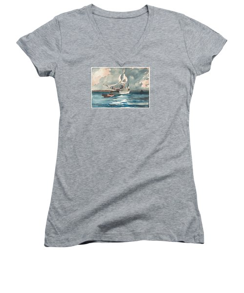 Sloop  Nassau Bahamas Women's V-Neck T-Shirt (Junior Cut) by Winslow Homer
