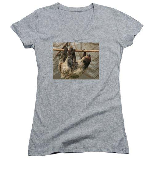 Sloth Women's V-Neck T-Shirt (Junior Cut) by Ellen Henneke