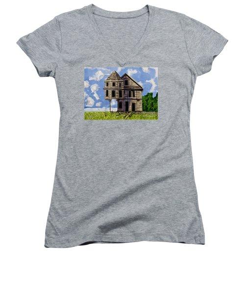 Slumber A Chance To Dream Watercolor Art Prints Women's V-Neck T-Shirt (Junior Cut) by Valerie Garner