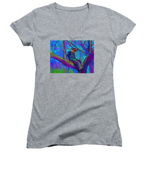 Women's V-Neck featuring the painting Small Boy In Large Tree by Hidden  Mountain