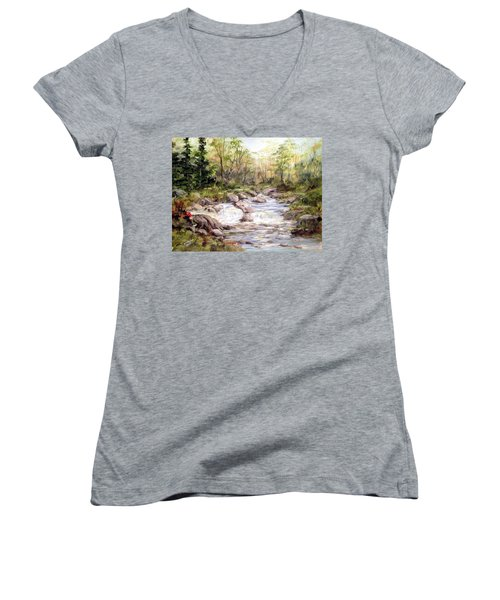 Small Falls In The Forest Women's V-Neck T-Shirt (Junior Cut) by Dorothy Maier