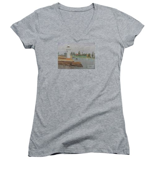 Small Lighthouse At Wollongong Harbour Women's V-Neck T-Shirt