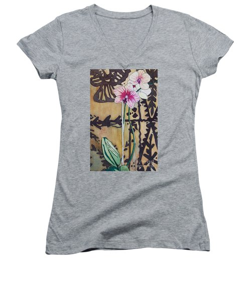 Small Orchids Women's V-Neck T-Shirt