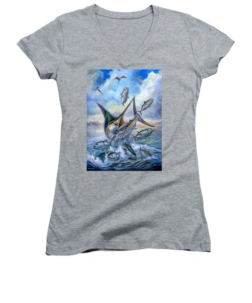 Small Tuna And Blue Marlin Jumping Women's V-Neck T-Shirt