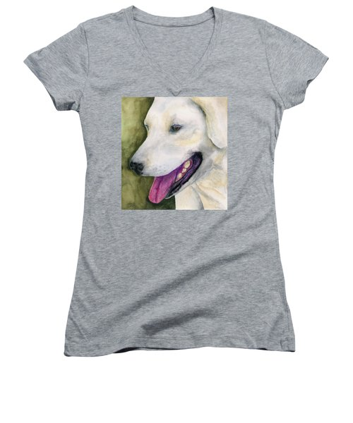Women's V-Neck T-Shirt (Junior Cut) featuring the painting Smiling Lab by Stephen Anderson