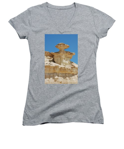 Smiling Stone Man Women's V-Neck (Athletic Fit)