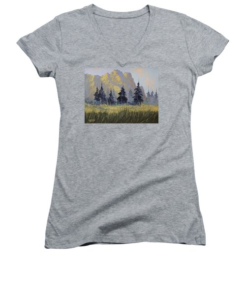 Women's V-Neck T-Shirt (Junior Cut) featuring the painting Smith Rock Oregon by Richard Faulkner