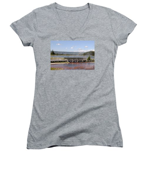 Women's V-Neck T-Shirt (Junior Cut) featuring the photograph Smoke On The Water by Mary Carol Story