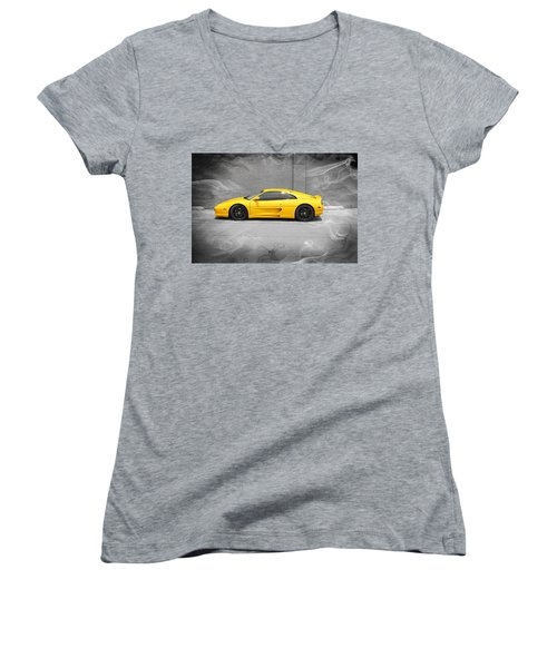 Women's V-Neck T-Shirt (Junior Cut) featuring the photograph Smokin' Hot Ferrari by Kathy Churchman