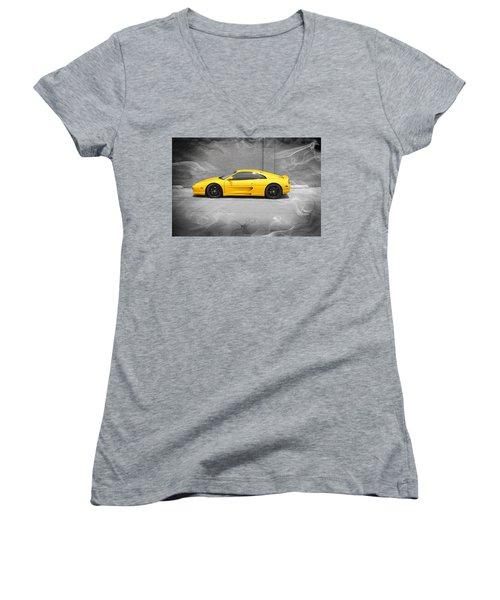Smokin' Hot Ferrari Women's V-Neck T-Shirt (Junior Cut) by Kathy Churchman