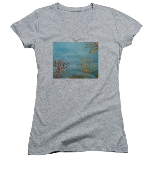 Smoky Mountains In Autumn Women's V-Neck T-Shirt (Junior Cut) by Judith Rhue