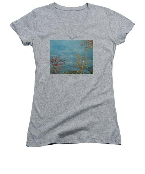Smoky Mountains In Autumn Women's V-Neck T-Shirt