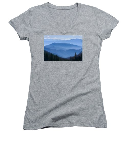 Smoky Mountains Women's V-Neck T-Shirt (Junior Cut) by Melinda Fawver