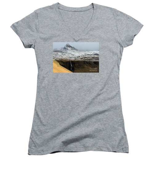 Women's V-Neck T-Shirt (Junior Cut) featuring the photograph Snaefellsnes Peninsula #1 by Paula Guttilla