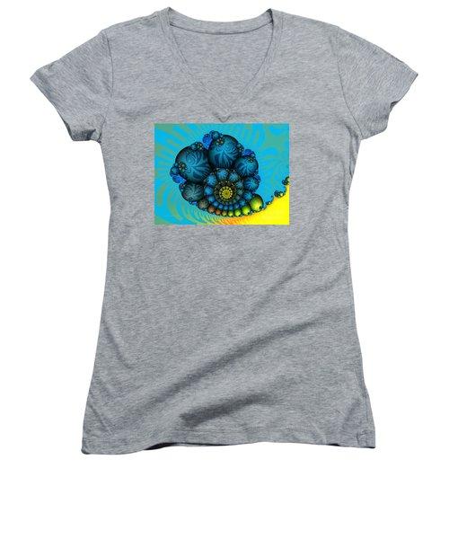 Snail Mail-fractal Art Women's V-Neck