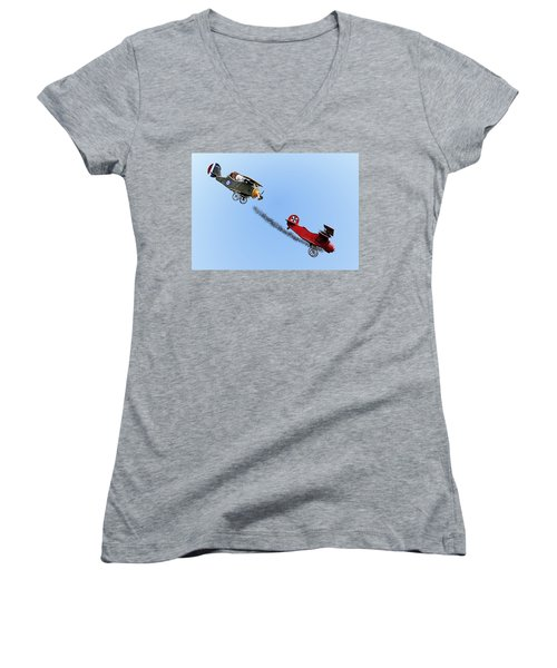 Snoopy And The Red Baron Women's V-Neck T-Shirt