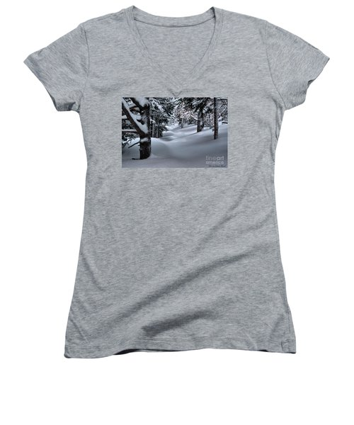Snow Covered Trail Women's V-Neck (Athletic Fit)