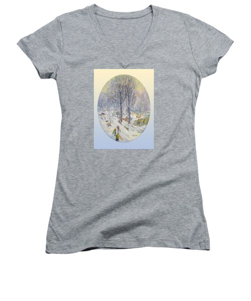 Women's V-Neck T-Shirt (Junior Cut) featuring the painting Snow Day by Donna Tucker