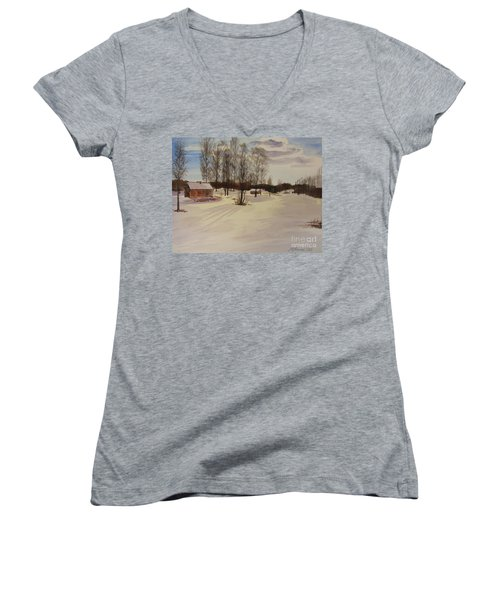 Snow In Solbrinken Women's V-Neck T-Shirt (Junior Cut) by Martin Howard
