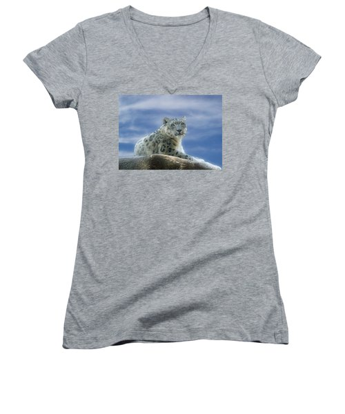 Snow Leopard Women's V-Neck T-Shirt (Junior Cut) by Sandy Keeton