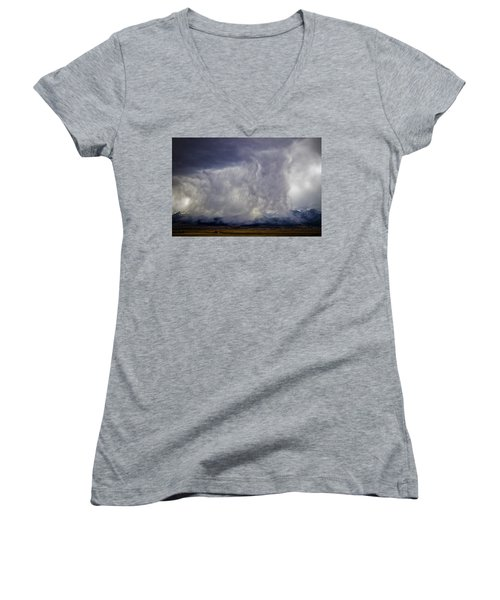 Snow On The Rockies Women's V-Neck T-Shirt (Junior Cut) by Greg Reed