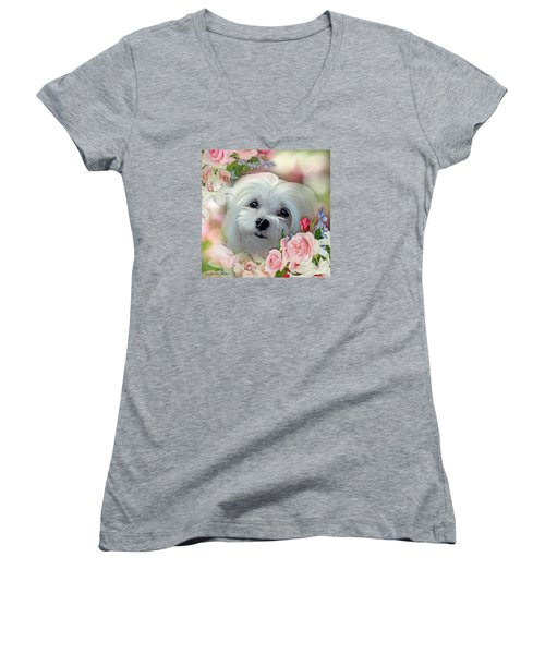 Snowdrop The Maltese Women's V-Neck T-Shirt (Junior Cut) by Morag Bates