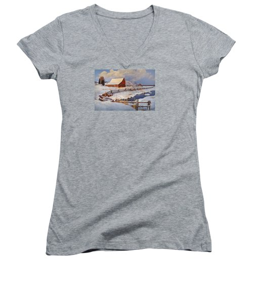 Women's V-Neck T-Shirt (Junior Cut) featuring the photograph Snowed In by Priscilla Burgers