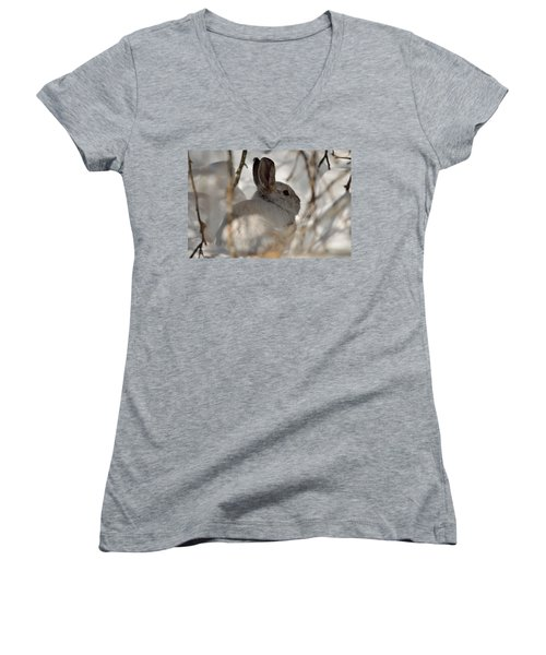 Snowshoe Hare Women's V-Neck (Athletic Fit)