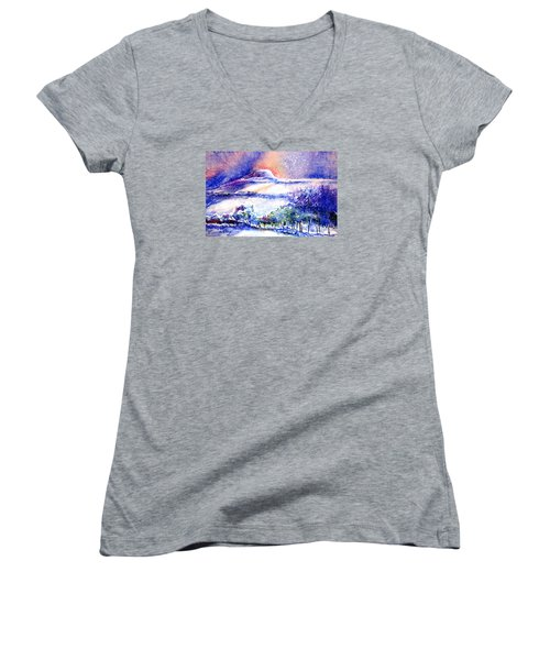 Snowstorm Over Eagle Hill Hacketstown  Women's V-Neck T-Shirt (Junior Cut) by Trudi Doyle