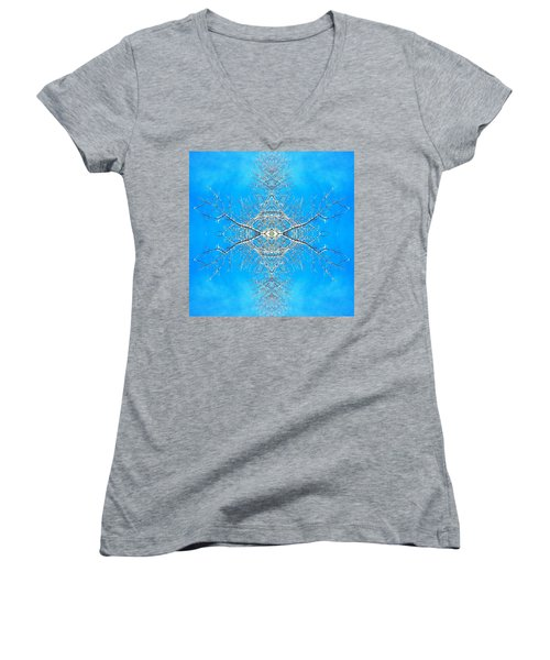 Women's V-Neck T-Shirt (Junior Cut) featuring the photograph Snowy Branches In The Sky Abstract Art Photo by Marianne Dow