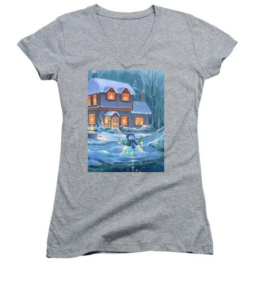Snowy Bright Night Women's V-Neck T-Shirt (Junior Cut)