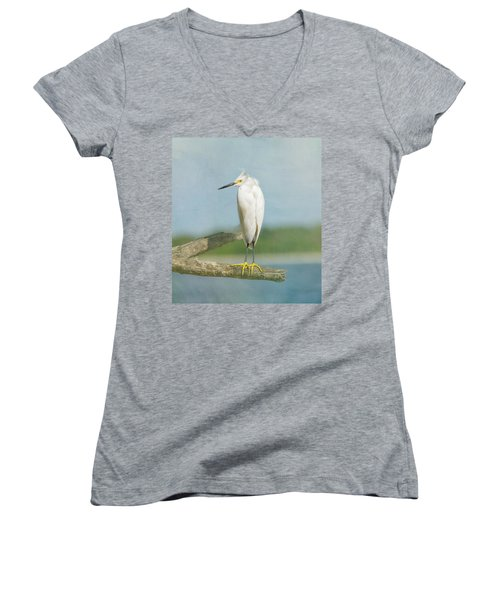 Snowy Egret Women's V-Neck