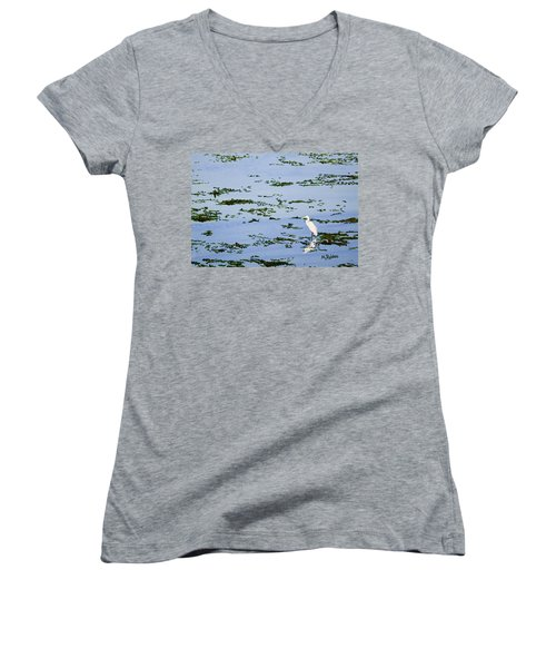 Snowy Egret Women's V-Neck T-Shirt (Junior Cut) by Mike Robles