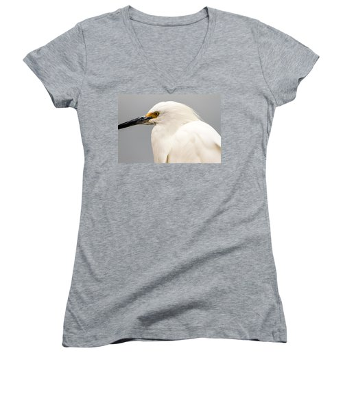 Snowy Egret Profile Women's V-Neck