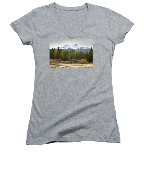 Women's V-Neck T-Shirt (Junior Cut) featuring the photograph Snowy Fall In Yosemite by David Millenheft