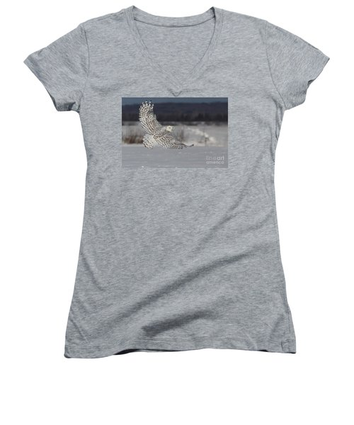 Snowy Owl In Flight Women's V-Neck T-Shirt (Junior Cut) by Mircea Costina Photography