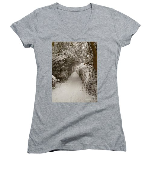 Women's V-Neck T-Shirt (Junior Cut) featuring the photograph Snowy Path by Vicki Spindler
