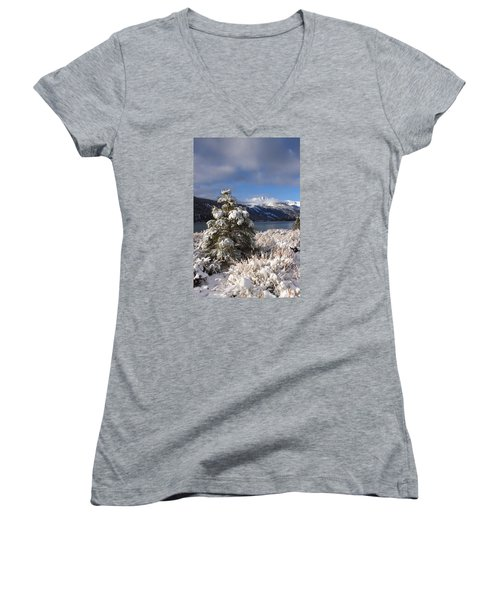 Women's V-Neck T-Shirt (Junior Cut) featuring the photograph Snowy Pine  by Duncan Selby