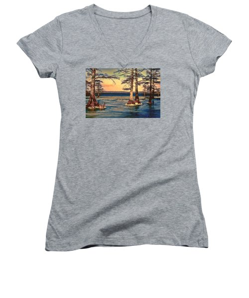 Snowy Reelfoot Women's V-Neck (Athletic Fit)