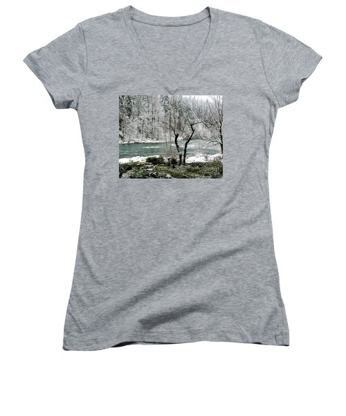 Women's V-Neck T-Shirt (Junior Cut) featuring the photograph Snowy River And Bank by Belinda Greb