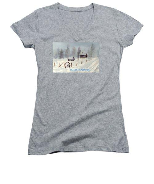 Snowy Road Women's V-Neck T-Shirt